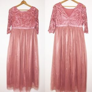 NWT Lace tulle maxi dress mauve dusty rose Large